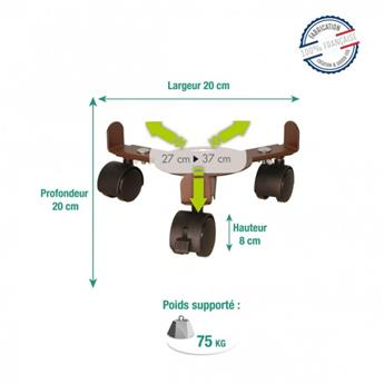 Support 3 roul. ext 27-37 cm - jusq. 75 kg fer vieilli