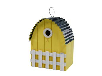 Nichoir toit courbe maison jaune clair