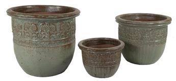 Pot Glazed Off Hp Green D50 H45 (Mg) Emaillé vert