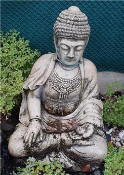 Bouddha assis béton massif patiné Ht 75 cm