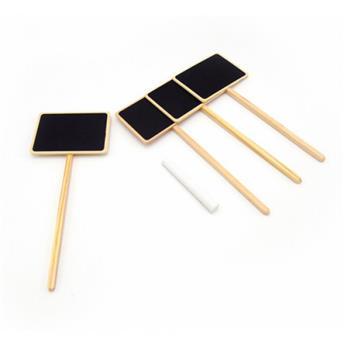 Etiquettes ardoise / 4 pc, cadre bois FSC, inclus craie - H20,5 x 8,6 x 6 cm