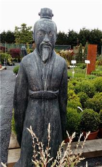 Paysan japonais agenouillé avec chapeau Ht 100 cm