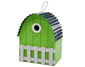 Nichoir toit courbe maison vert clair